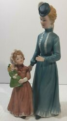 Vintage A Sunday Stroll Homco Figurine Victorian Woman And Girl With Doll