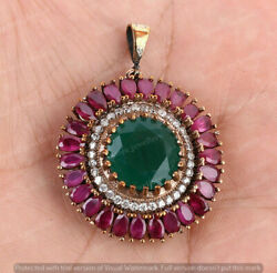 Antique Round Halo Cluster Pendant Round Cut Emerald And Ruby 14k Yellow Gold Over