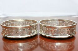 A Great Condition Pretty Pair Of Silver Plated Pierced Bottle Coasters 1950and039s