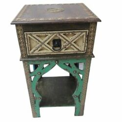 Antique Finish Wooden Home Side Table Desk Storage Nighstand Drawer Chest