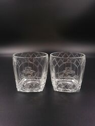 Crown Royal Cathedral Clear Embossed Square Base Rocks Glasses Pair