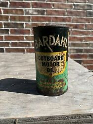 Rare Vintage Bardahl Outboard Motor Oil 12 Oz. Can Andldquounopenedandrdquo Some Leakage