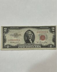 1953 Two Dollar Bill With Red Print Offset Printed Front And Back Left And Right