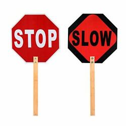 Kichwit Stop Slow Sign 13quot; Aluminum Sign with Bamboo Handle Reflective