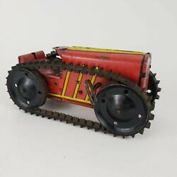 Vintage 1950's Marx Toys Usa Tin Litho Tractor Wind Up Toy W/ Key - Working