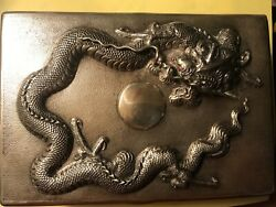 Antique Japanese Three Claw Dragons Silver Cigarette Cigar Jewelry Box 900 Grams