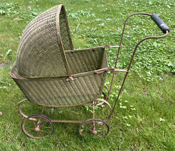 Rare Antique 1920's Lloyd Loom Product Wicker Doll Buggy Carriage Stroller 21x24