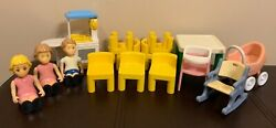 Little Tikes Doll House Furniture And People 15pc Lot Chairs Table Fast Usps Ship