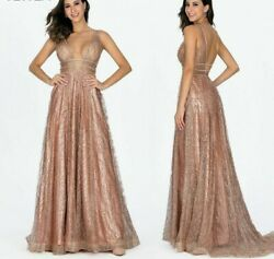 Evening Gowns Sexy Dresses Bling Gold Deep V Backless Decollate Pockets Sequined