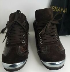Mens Dolce Gabbana Limited Edition Crocodile Sneakers 7.5 Dg Shoes Us Size 8.5