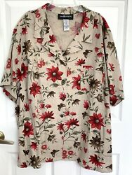 Sag Harbor Woman Green Red Floral Button Shirt Top Blouse 3x Linen / Rayon