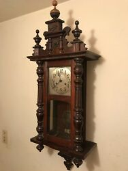 Antique Vintage Wood Wall Clock Loud Gong Hour And Half Hour Runs Keeps Time