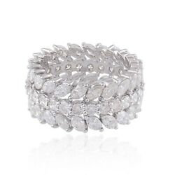Solid 18k White Gold Natural Hi/si Marquise And Round Diamond Band Ring Jewelry