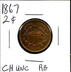 1867 2c Two Cent Piece In Choice Uncirculated Condition Rb 05048