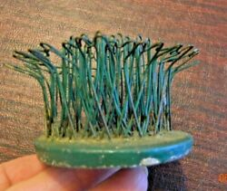 Intage Chippy Green Wire Hairpin Flower Holder Flower Frogblue Ribbon 4