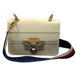 Authentic Queen Margaret Shoulder Bag 476542 Leather White Used Bee