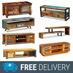Tv Cabinet Solid Reclaimed Wood Tv Stand Unit Storage Sideboard W/ Drawer Shelf