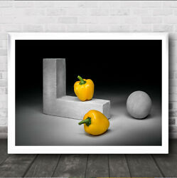 Yellow Bell Peppers Pepper Geometric Kitchen Sphere Vegetables Wall Art Print