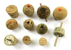 Mixed Lot Of Rustic Antique/vintage Cork And Wood Fishing Bobber Float Parts