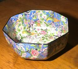 Crown Ducal Ware England Octagon Bowl - Blue, Floral, With Birds