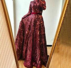 Muslim Evening Dress Gowns High Neck Wine Red Sparkle Long Sleeve A-line Sequins