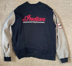 Mens 2xl Indian Scout Motorcycle Jacket, Cotton/poly Zip Patches Black/tan