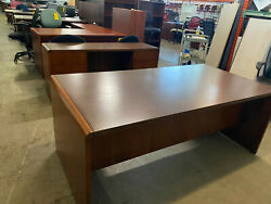 Executive Set Desk And Credenza By National Kimball Office Furniture In Walnut
