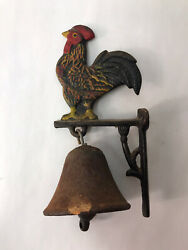 Cast Iron Chicken Rooster Dinner Bell Hanging Farmhouse Antique Style Kitchen