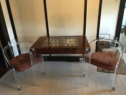 Jones Lucite Backgammon Game Table, Mahogany, Complete Playing Pieces