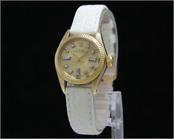 Vintage 1970's Ladies Rolex 24mm 6719 Solid 14k Yellow Gold Diamond Dial Watch