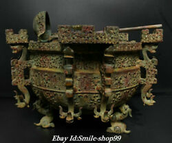15.7 Old China Zhan Dy Bronze Ware 9 Dragon Round Ding Incense Burner Censer