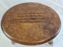 This Little Stool Is Mine Vintage Engraved Wooden Child's Step Stool