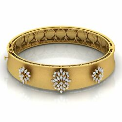 Si Clarity Hi Color Marquise Diamond Bangle 14k Yellow Gold Bracelet Jewelry New
