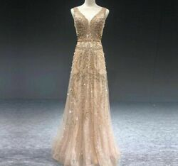 Gold Dress A Line Gown V Neck Pearls Crystal Sleeveless Sequined Court Train New