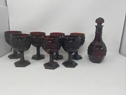 Avon Cape Cod 1876 Ruby Red Cranberry Glass Seven 6andrdquogoblets And Wine Decanter