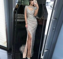 Mermaid Gowns Evening Dresses Sweetheart Silver Sparkle Beaded Sequins Tulle New