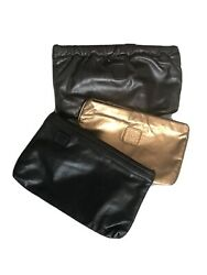 Anne Klein Clutch Lot of 3 Vintage Leather Brown Gold Black Bags Excellent $45.00