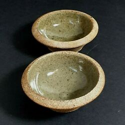 Leach St Ives Studio Pottery Stoneware 2 X Small Bowls Salt And Pepper Cellars