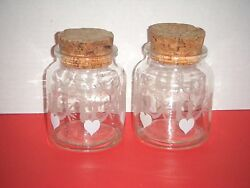 2 Clear Glass Drug Store / Apothecary / Storage Jars Hearts Birds Cork Lids