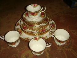 Royal Albert Bone China Dinnerware - Old Country Roses Four 5-pc Place Settings