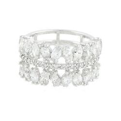 1.90 Tcw Si Clarity Hi Color Diamond Band Ring Solid 14k White Gold Jewelry New