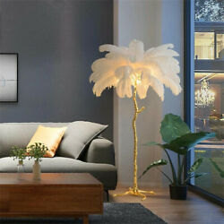 Modern Ostrich Feather Floor Lamp Copper Stand Indoor Decorating Lamp