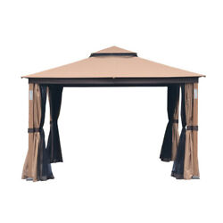 Cloud Mountain Steel And Polyester Garden Gazebo Soft Top With Brown Cm3046