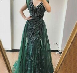 Sexy Evening Dress Gown Deep V Crystal Mermaid Empire Sleeveless Tulle Polyester
