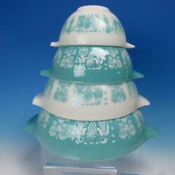 Vintage Pyrex Turquoise Cinderella Amish Butter Print - 4 Nesting Mixing Bowls