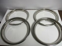 Vintage 15 Beauty Trim Rings Chrome Hubcaps Wheel Covers Set Of 4 Nice