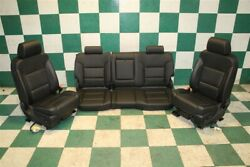 14-18 Gm Truck Black Leather Heated And Cooled Front Buckets Seats Backseat Tracks