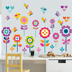 Garden Flowers Wall Decals Spring Floral Butterfly Bee Bird Wall Stickers Remova
