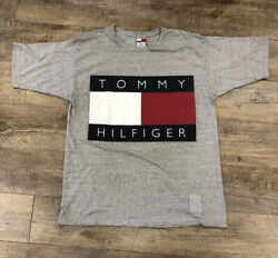 Vintage Made In USA Tommy Hilfiger T Shirt Size X Large Gray Big Logo