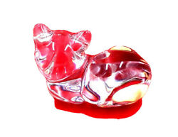 Princess House SEATED CAT Germany Crystal Kitten Figurine w Label PAPERWEIGHT